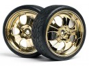 Колесо в сборе 1/10 OnRoad SUPER LOW TREAD TIRE (GOLD/4pcs) (HPI4723)