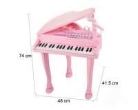 Детское пианино синтезатор Baoli Маленький музыкант с микрофоном и стульчиком 37 клавиш Розовый