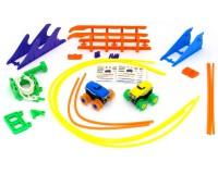 Машинки на бат. Trix Trux набор 2 машинки с трассой (синяя+желтая)