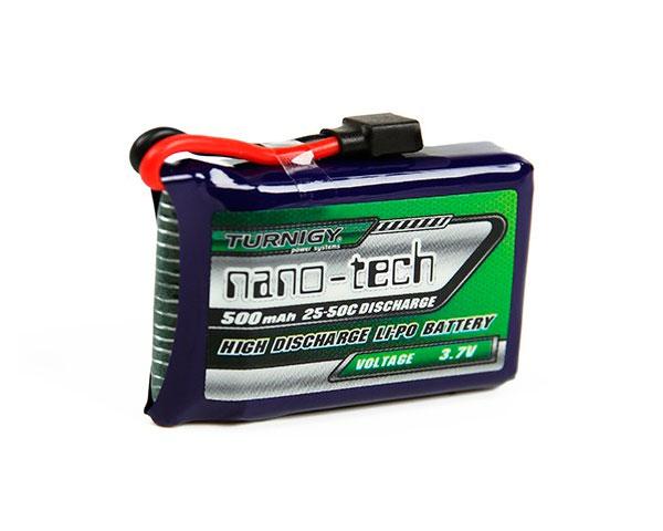 Аккумулятор Turnigy 3.7V 500mAh 1S 25~50C Lipo, nano-tech (Losi Mini Compatible)