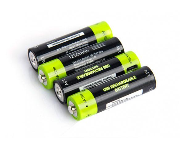 Аккумулятор Znter 1.5V 1250mAh AA USB Rechargeable LiPoly Battery (4 шт)