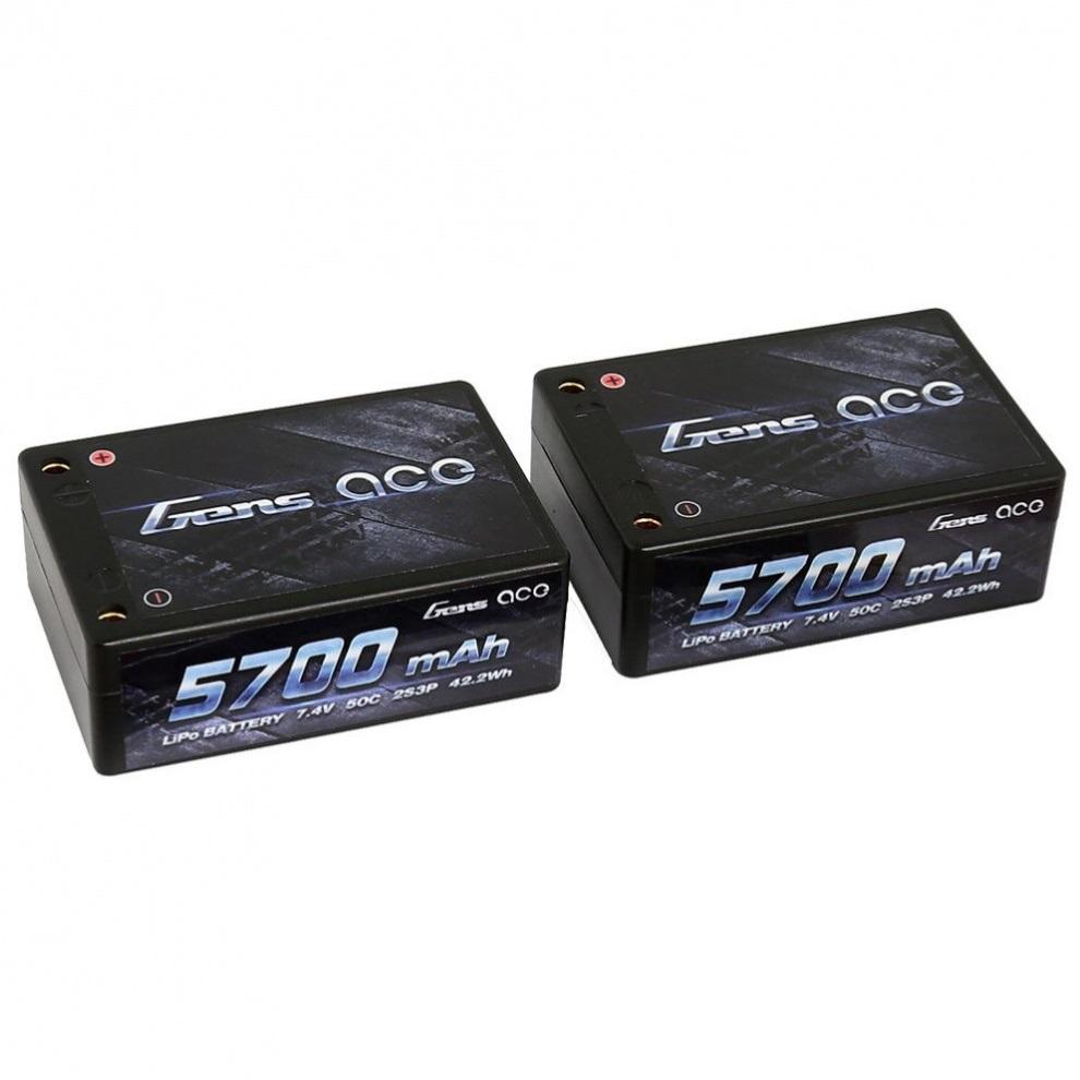 Аккумулятор Gens Ace Li-PO 7,4 В 5700 мАч 50C раздельные банки (B-50C-5700-2S3P-Saddle-12)
