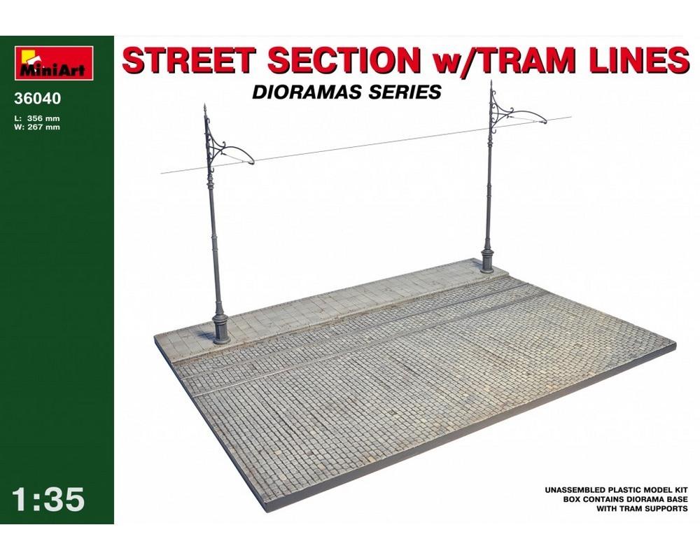 Сборная модель MiniArt Диорама Фрагмент улицы с трамвайными путями 1:35 (MA36040)