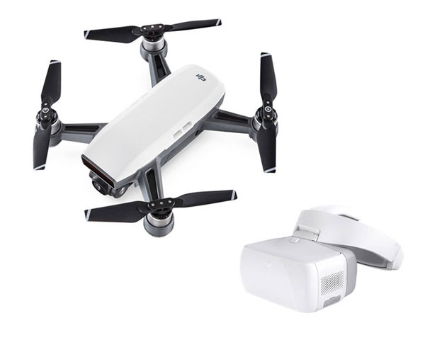 Квадрокоптер DJI Spark (Alpine White) и видеоочки DJI Goggles