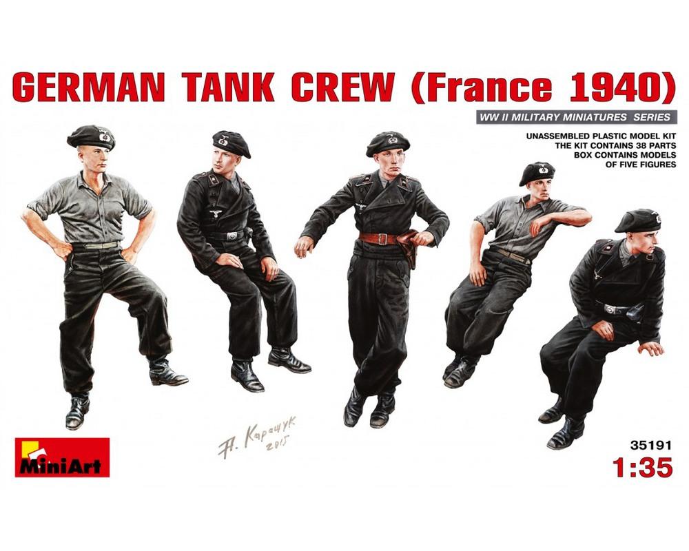 Сборные фигурки MiniArt Немецкий танковый экипаж, Франция 1940 1:35 (MA35191)