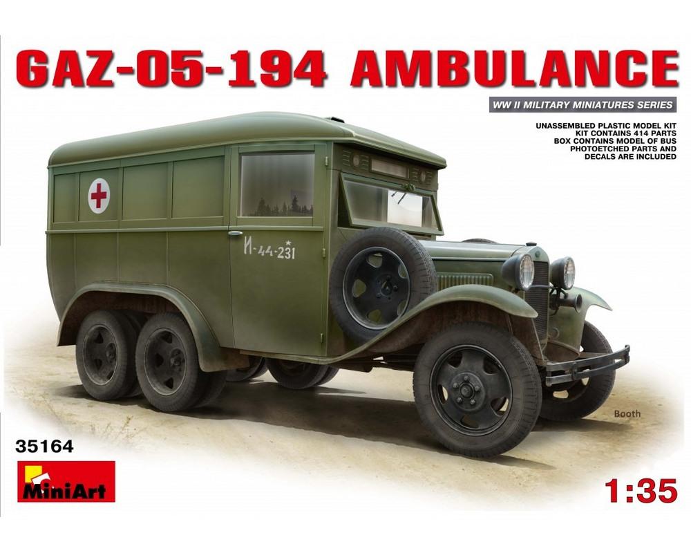 Сборная модель MiniArt Санитарный автобус ГАЗ-05-194 1:35 (MA35164)
