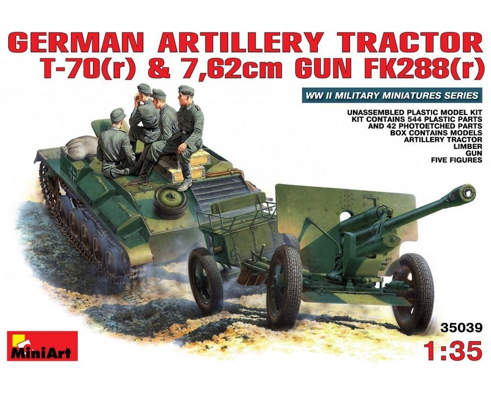 Сборная модель MiniArt Немецкий артиллерийский тягач t-70(r) с пушкой 7,62см FK288(r) и экипажем 1:35 (MA35039)