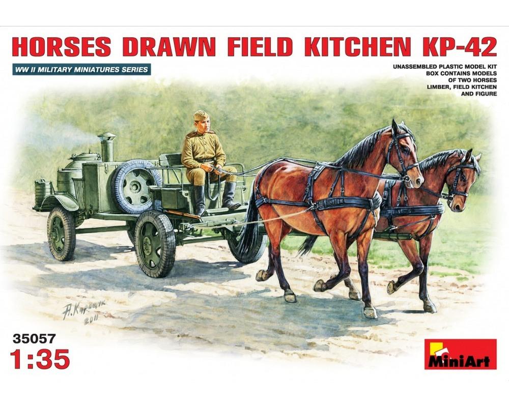Сборная модель MiniArt Советская полевая кухня КП-42 с лошадьми 1:35 (MA35057)