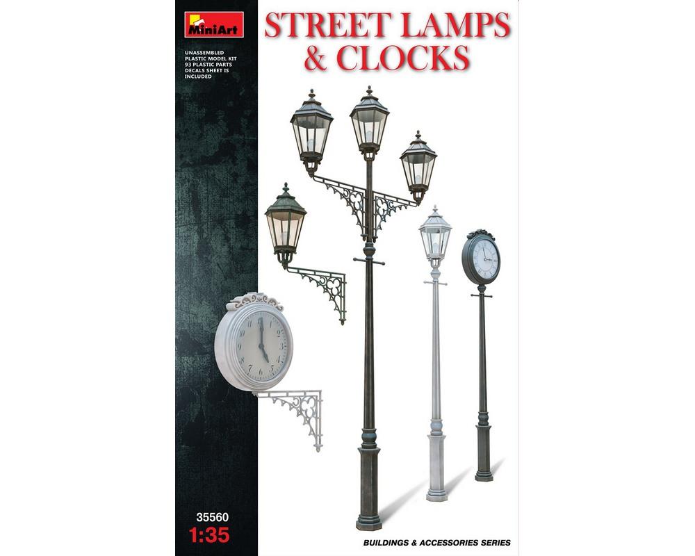 Сборная модель MiniArt Уличные фонарные столбы с уличными часами 1:35 (MA35560)
