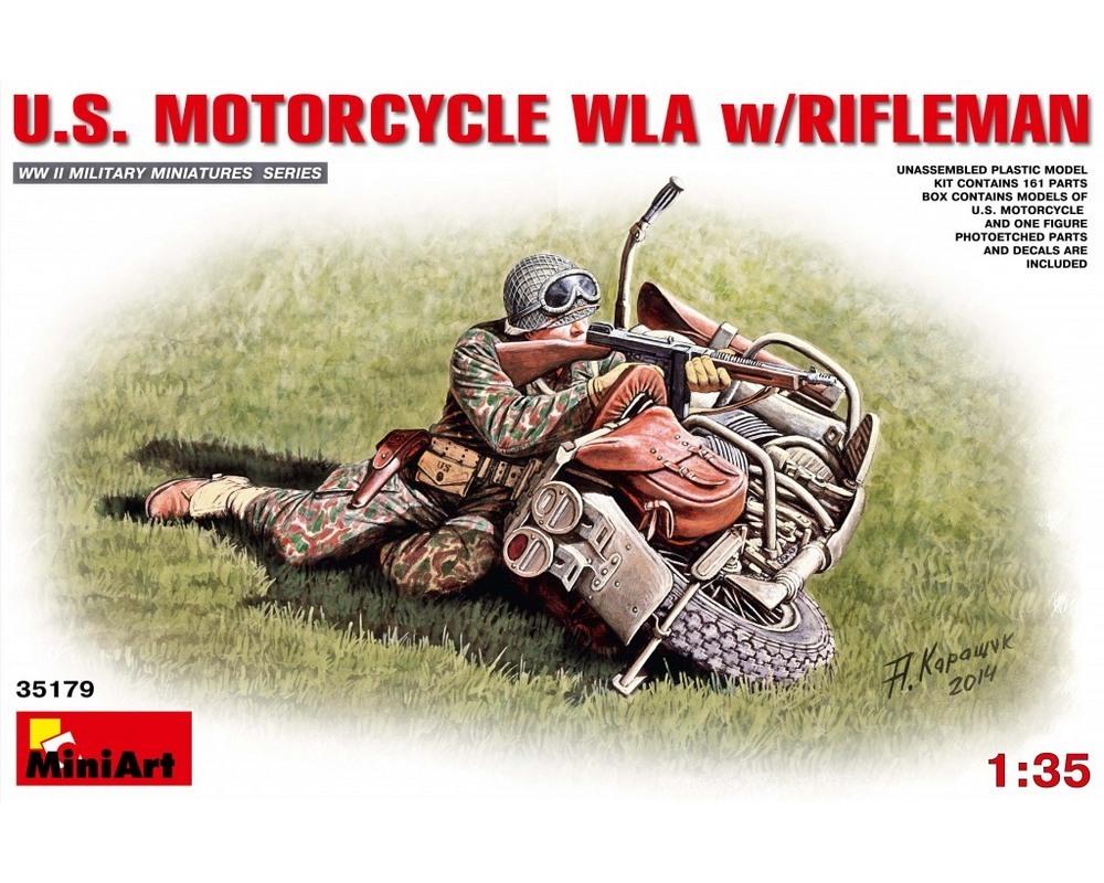 Сборная модель MiniArt фигурки американского стрелка с мотоциклом 1:35 (MA35179)