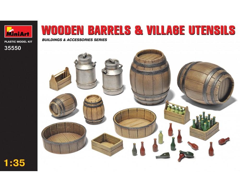 Сборная модель MiniArt Деревянные бочки и сельская утварь 1:35 (MA35550)