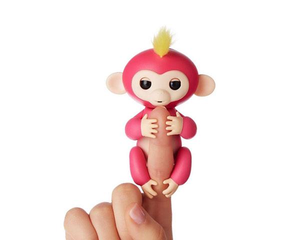 Интерактивная ручная обезьянка на батарейках Happy Monkey (розовая)