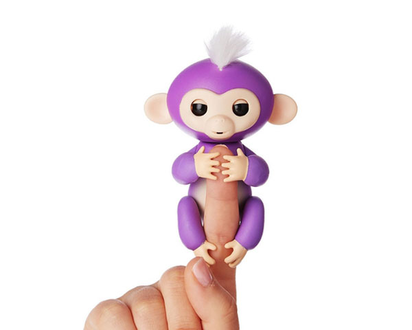 Интерактивная ручная обезьянка на батарейках Happy Monkey (фиолетовая)
