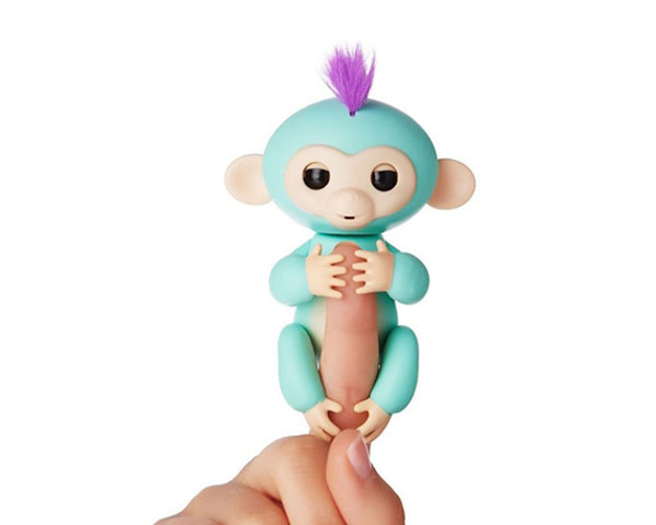 Интерактивная ручная обезьянка на батарейках Happy Monkey (бирюзовая)