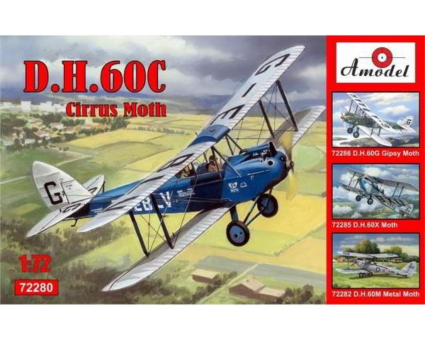 Сборная модель биплана Amodel de Havilland DH.60C Cirrus Moth 1:72 (AMO72280)