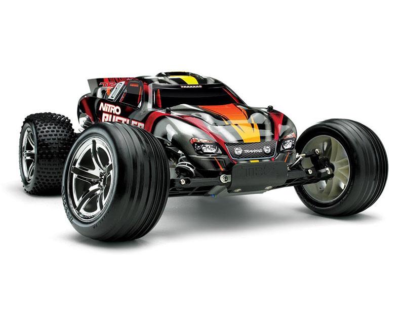 Трагги Traxxas Rustler Nitro Stadium Truck, TSM, 1:10 Silver-Red